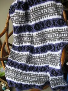 "Handmade Knitted Fair Isle Afghan, Multi Purple, White, Gray 56"" x 45"""