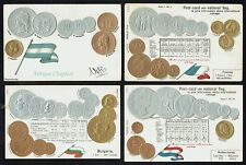 Egypt Argentina India Mexico Bulgaria France Britain Embossed Coins Postcard x 8