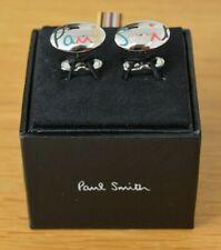 PAUL SMITH Artist Stripe signature striped logo oval cufflinks cuff links