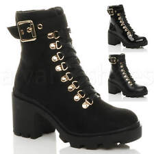 WOMENS LADIES MID HIGH BLOCK HEEL MILITARY COMBAT ARMY ANKLE BUCKLE BOOTS SIZE