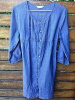 Women Lady Maternity jean color cotton blue Tunic Casual Comfotable Dress