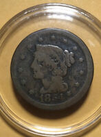 Lot637- 1854 Large Cent coronet head  1854 BRAIDED HAIR LARGE CENT