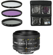 Nikon Lens for DSLR - AF FX NIKKOR 50mm f/1.8D + 3-Piece Filter Set UV, CPL, FLD