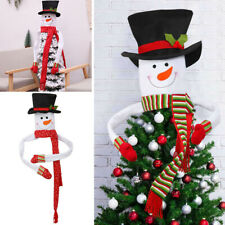More details for snowman christmas tree topper ornaments indoor outdoor xmas tree top hat decor