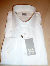 NEW $250 IKE BEHAR Mens Dress SHIRT 17 32 33 white Made in USA Cotton BC GOLDf