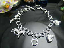 Silver 925 Horse Boot Horse Shoe Bracelet Beautiful Chain, Charm Jewellery UK