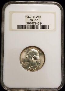 1960-D Washington Silver Quarter 25c NGC MS67 Top Pop!