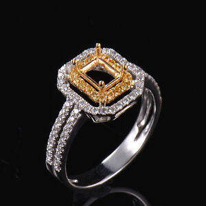 Emerald Cut 6x4mm Natural Diamond Halo Semi Mount Ring Two-Tone Solid 14K Gold