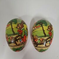 VINTAGE PAPER MACHE EASTER EGG CANDY CONTAINER MADE IN WEST GERMANY BUNNIES