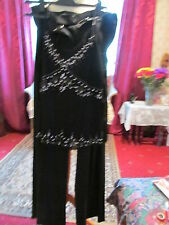 BLACK EVENING OUTFIT TROUSERS AND SEQUINED CAMI TOP SIZE 12L SPECIAL OCCASION