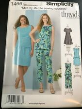 Simplicity Pattern 1466 Miss/Womens THREADS MAG Dress~Tunic~Top~Skirt~Crop Pants