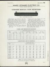 Rare Original 1933 Ward Leonard Dealer Brochure: Vitrohm Ribflex Type Resistors