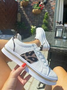 Womens Ladies Lace Up Chunky Trainers Platform Sneakers Animal Print Shoes Size