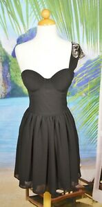 GUESS Black One Shouldered Dress 2 Boned Molded Bodice Studded Shoulder Accent