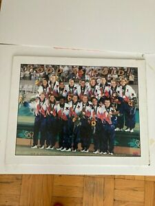 SIGNED Michelle Akers Women's Soccer Atlanta Olympic Games Gold Poster, USWNT
