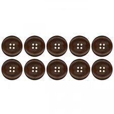 Knopf Set aus dunkelbraunem Holz rund 4 Loch Nähen Basteln Deko Accessiore