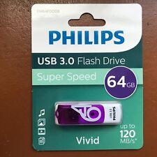 NEW PHILIPS 64 GB Vivid HIGH SPEED USB 3.0 Flash Drive Memory Stick Pen Drive