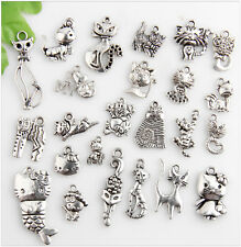 48pcs Mixed Cat Antique Silver Charms Pendants Findings 6C