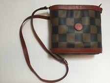 Vintage Fendi Monogram Checkered Black and Brown Leather Crossbody Bag Purse EUC