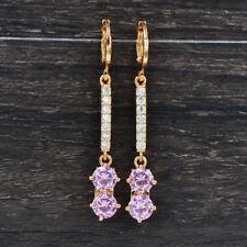 Fashion Women Girls Lovely Pink Cubic Zirconia Long Dangle CZ Earrings Jewelry
