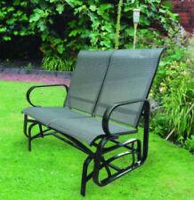 2 Person Chemin Planeur Banc balancement chaise jardin mailles Rocker Acier Noir