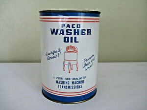 Vtg PACO Washer Oil for Wringer Washing Machines Oil Tin Can 1940s-1950s - RARE!