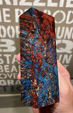 Stabilized & Dbl Dyed Box Elder Burl Knife Block    5.20 x 1.85 x 1.22    (5135)
