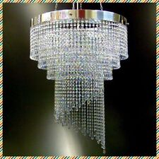 Spiral Lead Crystal glass Chandelier Chrome Ceiling Light Lamp Lighting spiral60