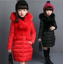 Kids Girls Fur Hooded 100%Cotton Padded Coat Kid Long Jacket Parka Overcoat Age