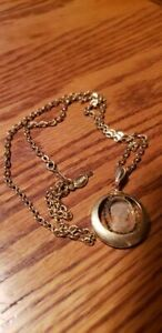 """1980's Hang Tagged Sarah Coventry Glass Cameo Pendant on 24"""" Chain"""