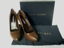 NEW RALPH LAUREN Ladies BENITA Brown Leather Court Shoes UK 5.5 EU 38.5 8.5 £475