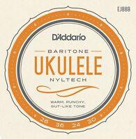 D'Addario EJ88B Nyltech Baritone Ukulele Strings Uke DGBE Tuning