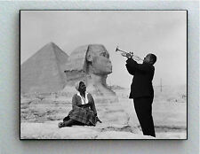 Rare Framed Louis Armstrong Playing Pyramid Sphinx Wife Vintage Photo Big Print