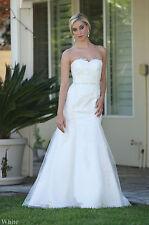 NEW FORMAL BRIDAL EVENING GOWN MODERN LONG WHITE BRIDE DRESS DESTINATION WEDDING