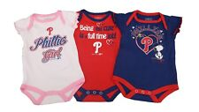 Philadelphia Phillies Official MLB Baby Infant Size Girls 3 Piece Creeper Set