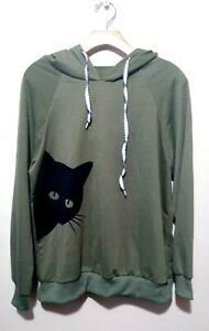Cool Cat Head  digital printing Teen Pull over hooded sweater Hoodie Out Wear