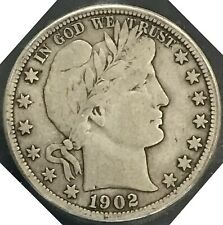 1902 S BARBER SILVER HALF DOLLAR 50C SEMI KEY
