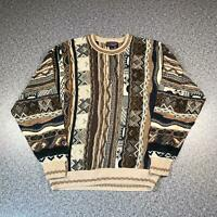 Vintage 90s ROUNDTREE & YORKE Cosby Style Mens Sweater Large | 3D Knit Jumper