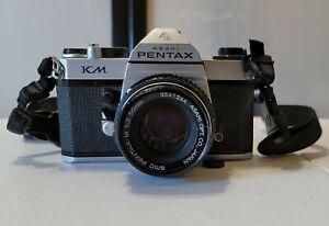Pentax Asahi KM 35mm SLR Film Camera with Pentax 50mm 1:2 Lens Made in Japan VTG