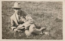 """Hundred Year old photo postcard from collection"" a man on the grass"