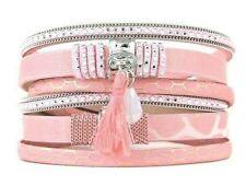 Wickel Armband Bommel mit Magnetverschluss ROSA Nieten Armband NEU