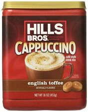 Hills Bros Cappuccino English Toffee 16oz , rich Coffee-house Flavour