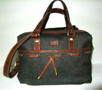 COWA Heavy-Duty Industrial Black Denim Canvas & Leather 3 Way Satchel Tote Bag