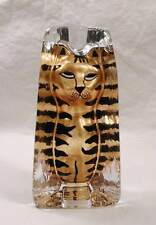 Beautiful Sea Glas Bruk Kosta Sweden Glass Hand Painted Tiger Striped Cat Gold
