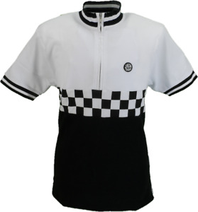 Ska & Soul White and Black Chequerboard Panel Cycling Shirt