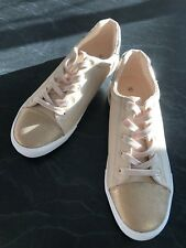 sportsgirl Size 41 Peach/ Bronze Lace Up Sneakers Rrp$60
