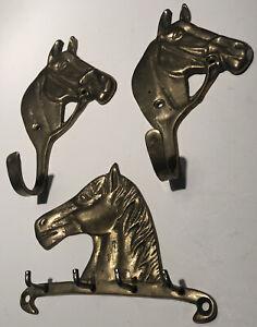 Vintage Brass Horse Key Holder 2 Brass Horse Hooks