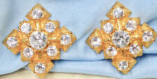 """Vintage Gold Tone Square Clip Earrings with Clear Rhinestones, 13/16"""", 19.3 gram"""