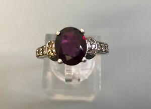Women's Silver Garnet & CZ Stone Ring Size O Weight 3.82g Stamped