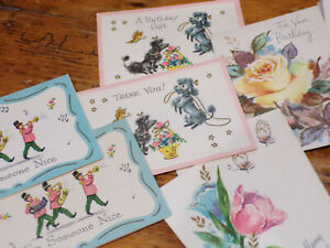 Vintage CORONATION CARDs 7 GIFT THANK YOU POODLE FLOWER MARCHING BAND